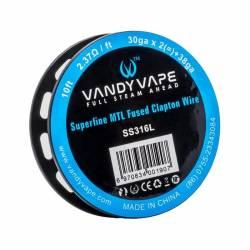 Vandy Vape SS316L Superfine MTL Fused Clapton Wire 30ga*2+38ga - 3m