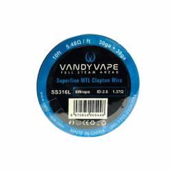 Vandy Vape SS316L Superfine MTL Clapton Wire 30ga+38ga - 3m